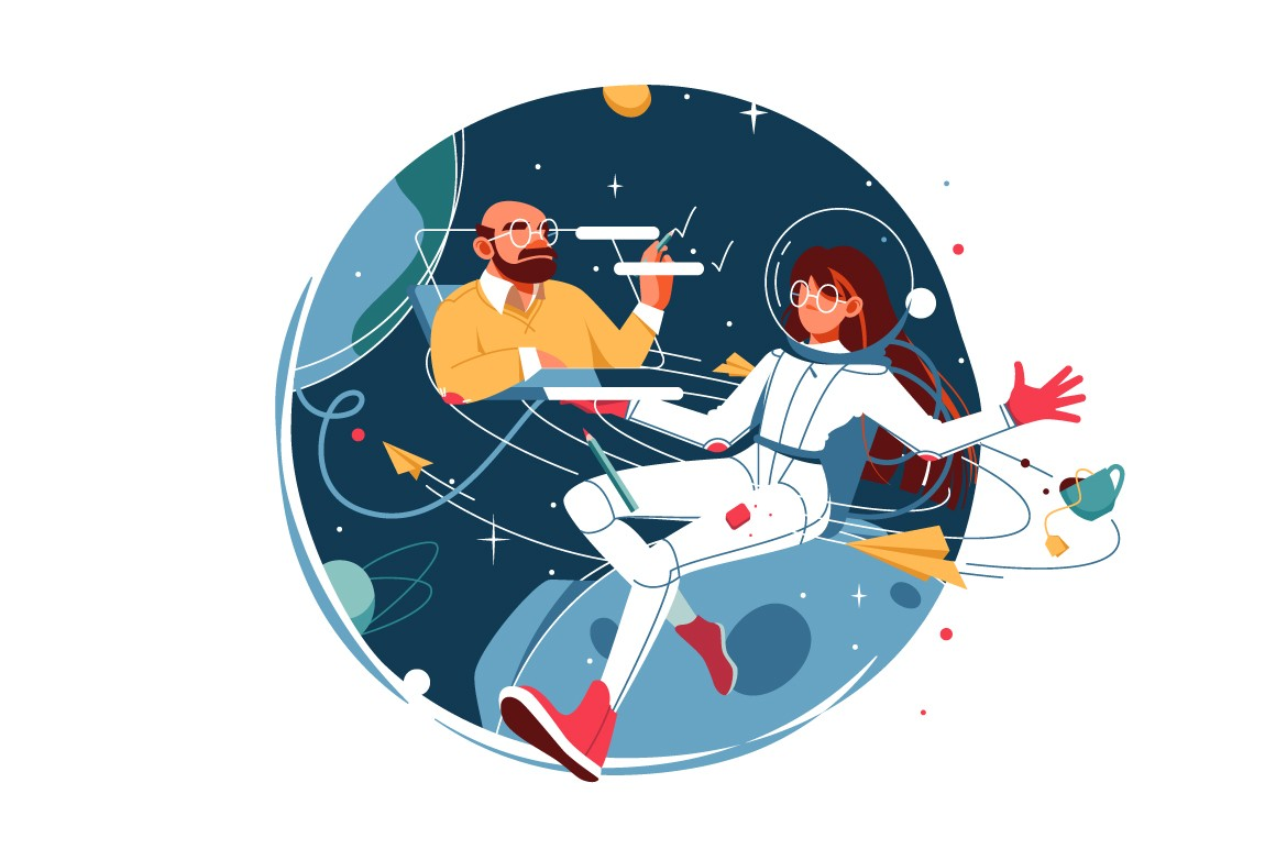 Woman in spacesuit work from space vector illustration.