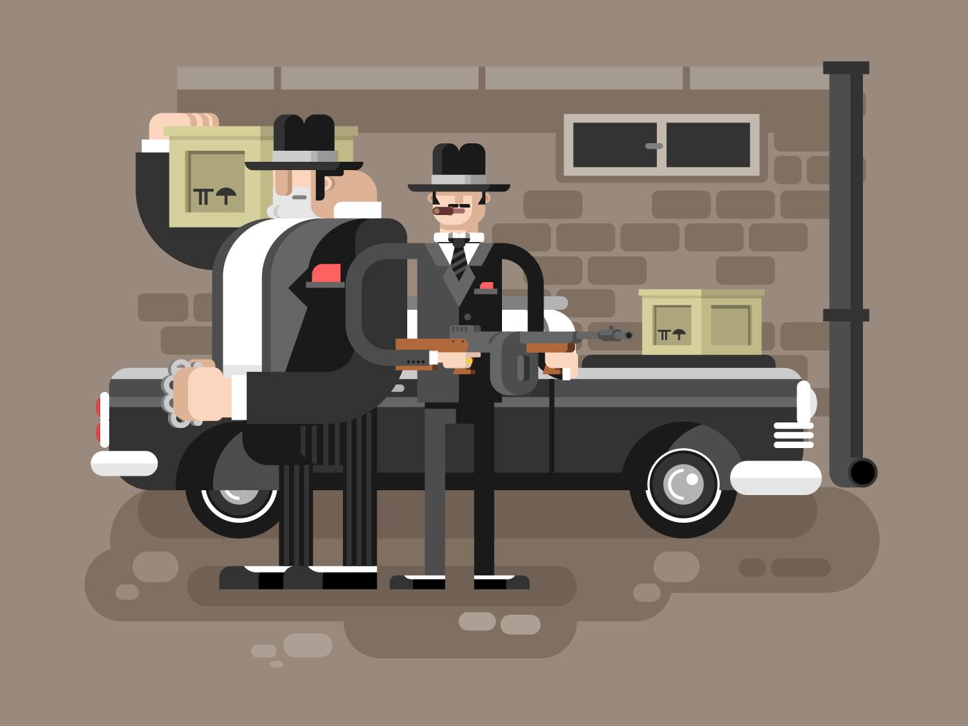Mafia man character flat vector illustration