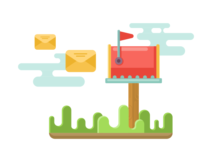 Mailbox with envelopes flat illustration