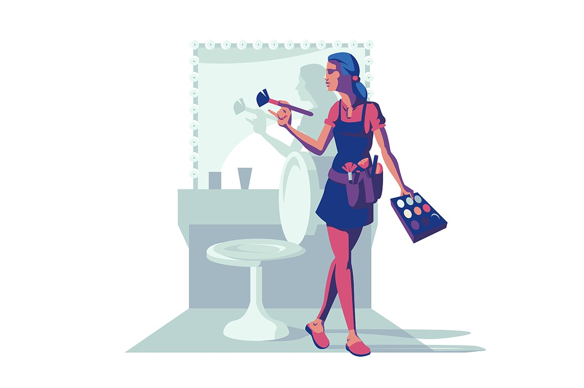 Make-up female specialist vector illustration. Cute visagiste standing in makeup room with big illuminated mirror flat style concept. Woman holding maquillage brush and palette of shadows