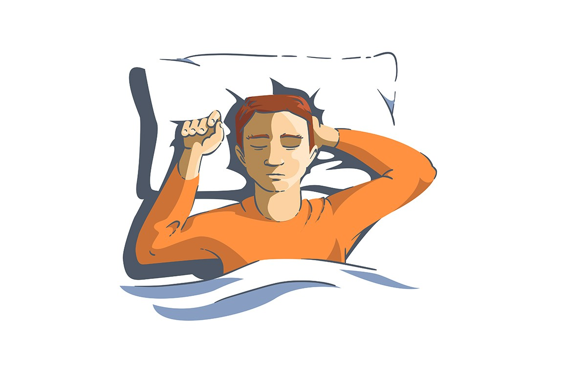 Sleeping man lying on pillow and dreaming at night vector illustration. Peaceful sleep of male person in bed at home cartoon design. Bedtime and sweet dreams concept
