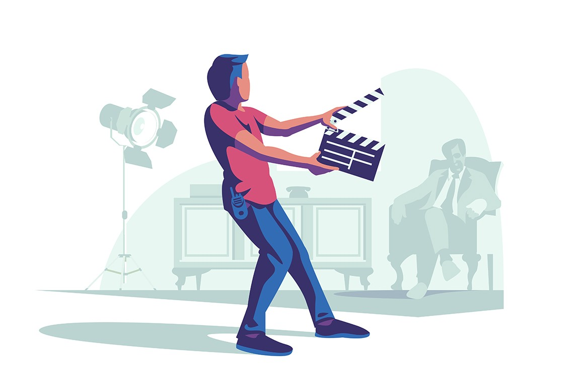 Man with clapperboard vector illustration. Man clapping clapper before starting filming movie scene flat style design. Film crew. Cinematography art concept