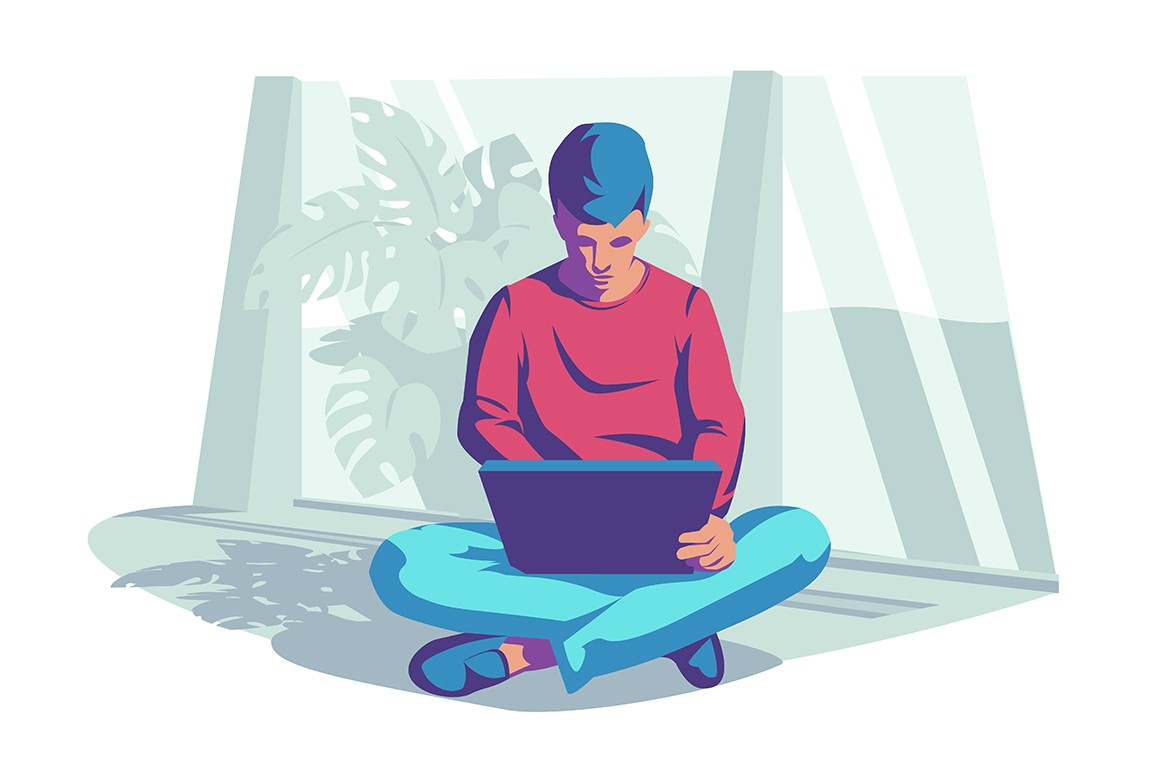 Man with laptop vector illustration. Guy sitting on floor and typing on computer at home flat style design. Freelance, remote work, telecommuting concept