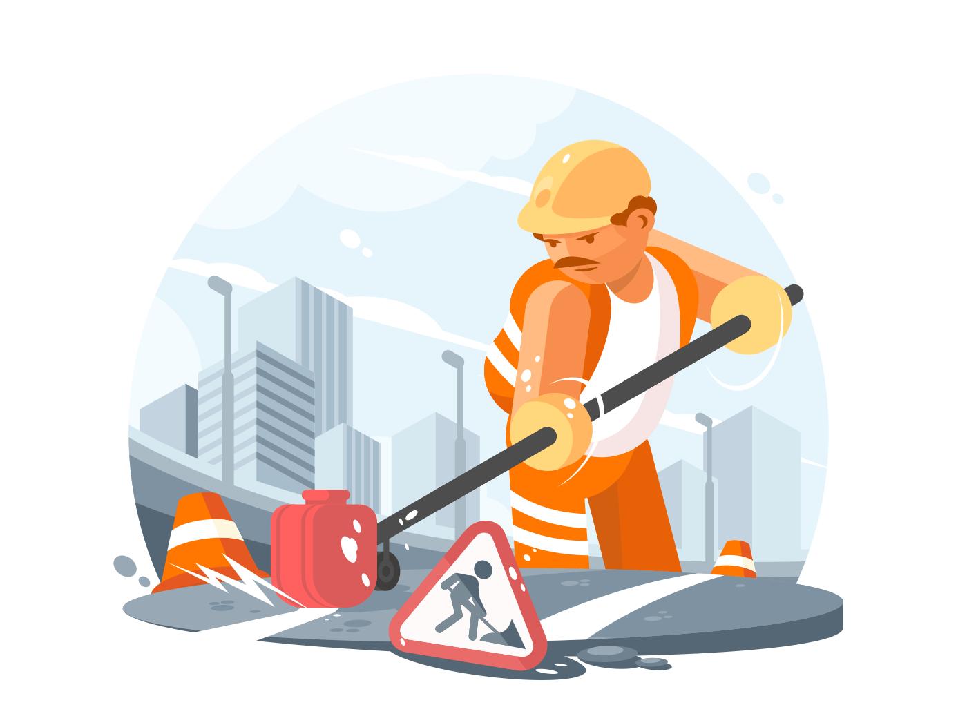 Road service worker illustration