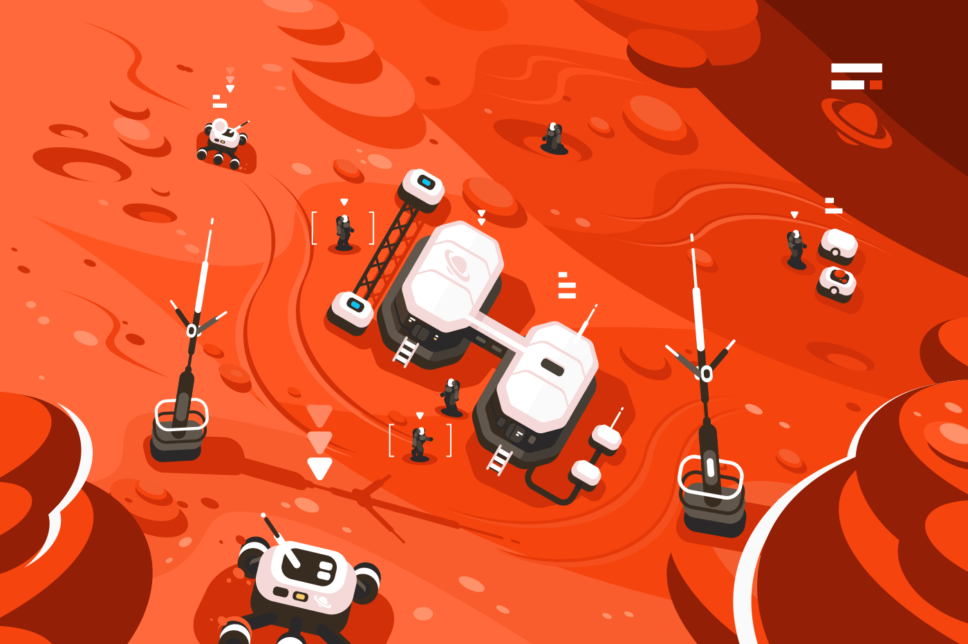 Mars planet station orbit base. Expedition on alien red planet. Martian colony space landscape. Flat. Vector illustration.