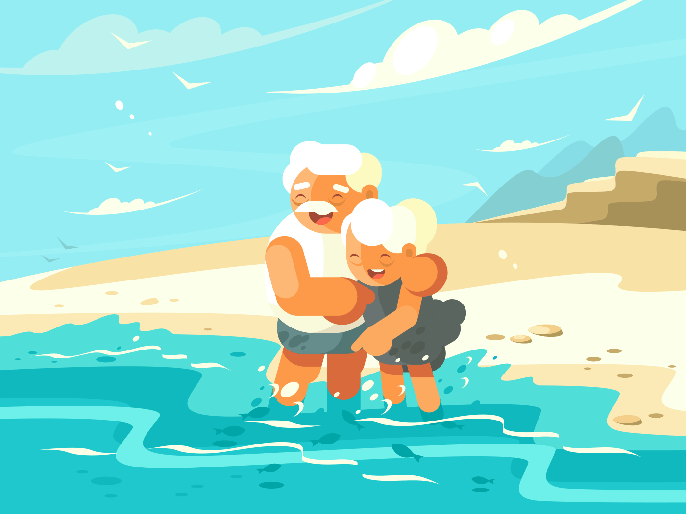Mature couple in love embraced on shore of ocean. Vector illustration