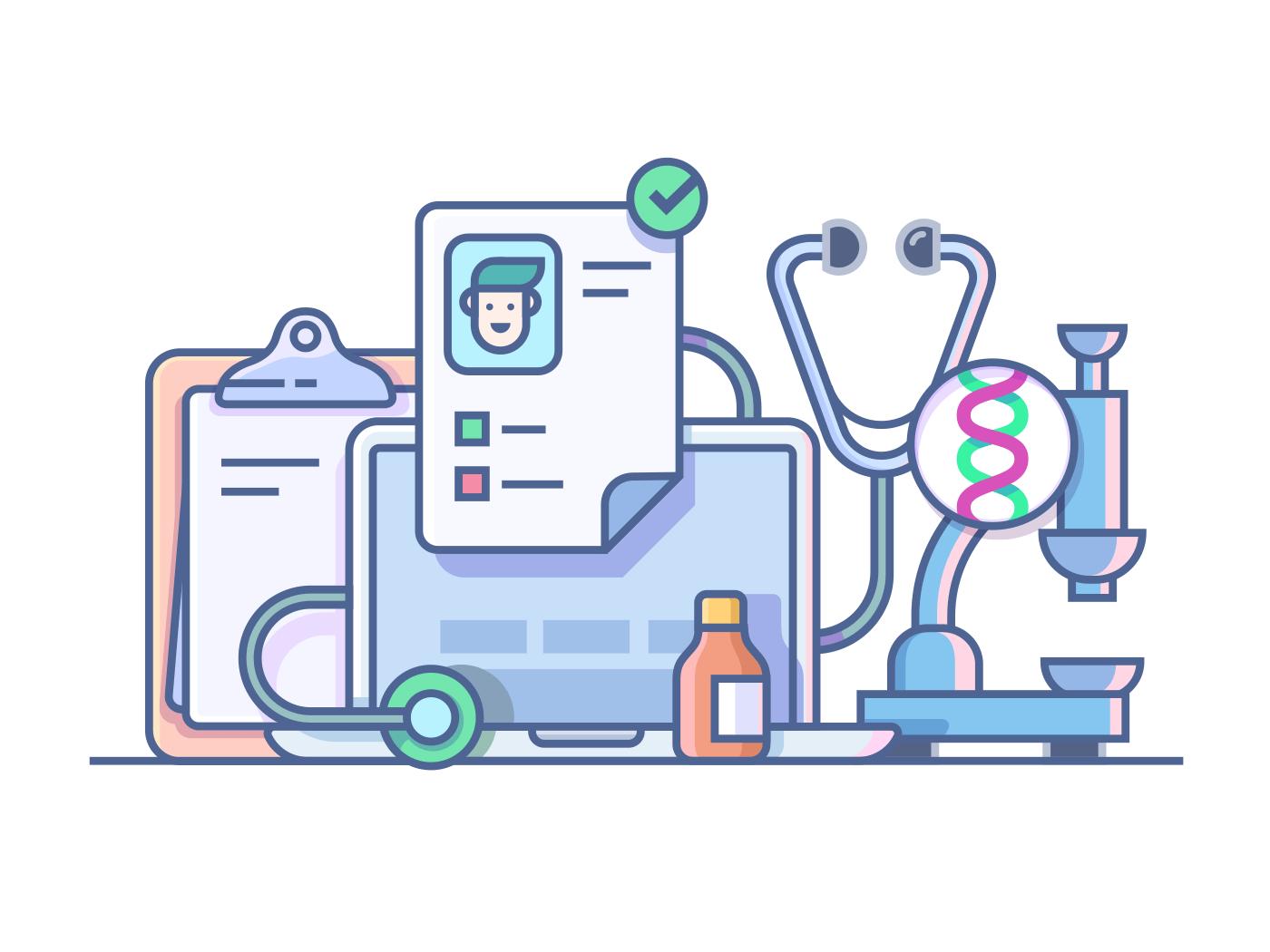 Medical accessories vector illustration