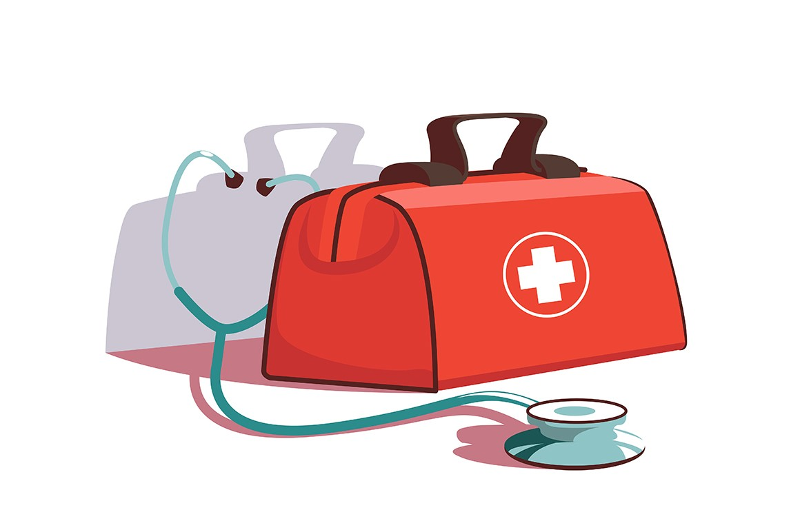 Red first aid kit and stethoscope equipment vector illustration. Healthcare and save people life flat style. Medication and recovery. Medicine and medical diagnostics concept. Isolated on white