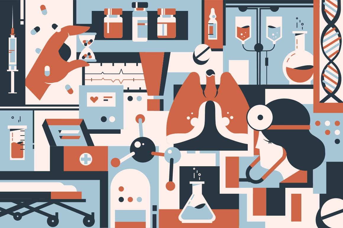 Medicine background of instruments, doctor and patient