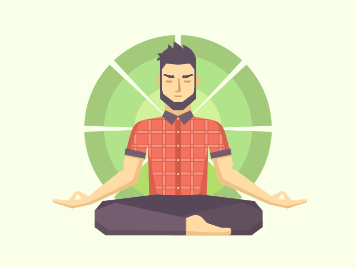 Man meditates in the Lotus position flat illustration