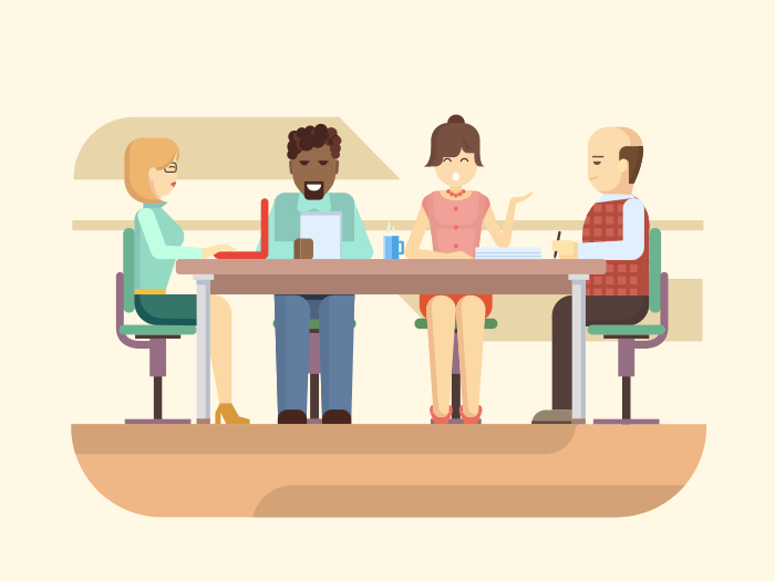 Business briefing flat vector illustration