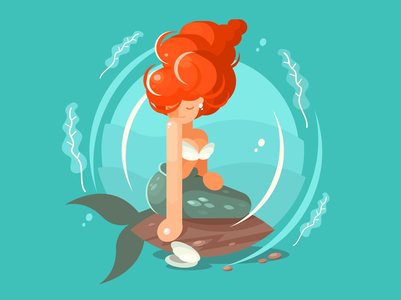 Sea mermaid character. Beautiful woman with tail. Vector flat illustration
