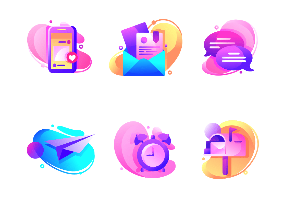 Set icons with email, alarm clock, paper airplane, mailbox.