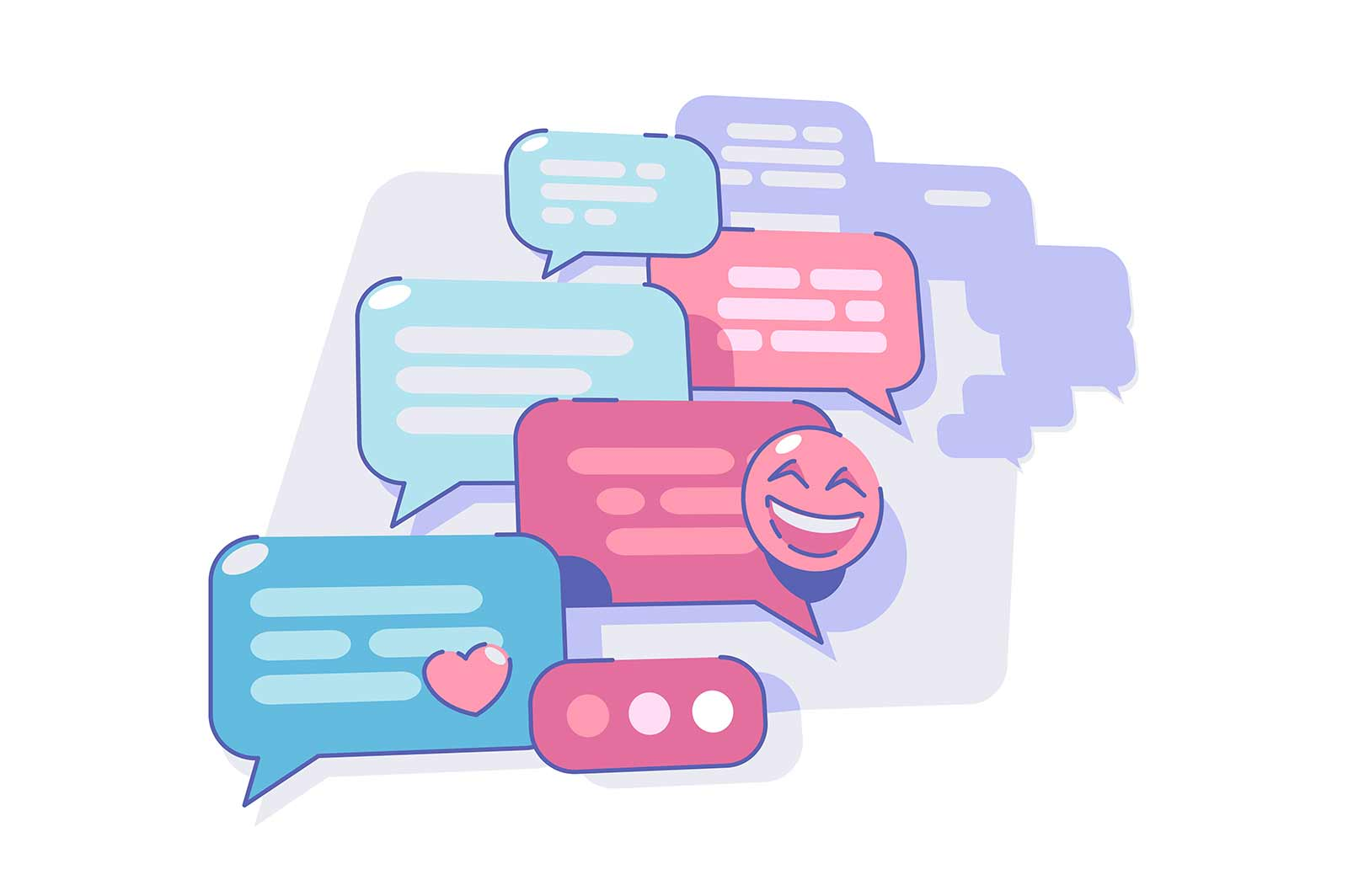 Chatting via messenger app vector illustration. Modern way for talking on smartphone flat style. Fun emoji. Communication and technology concept. Isolated on white background