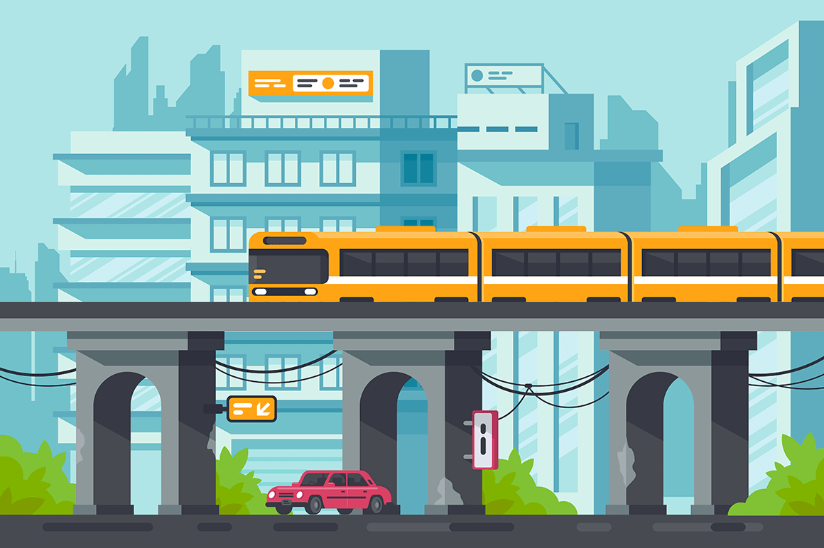 Flat street with road and car under elevated metro with electric train.