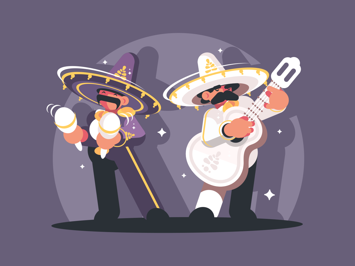 Mexican musicians in sombrero play guitar and maracas. Vector illustration