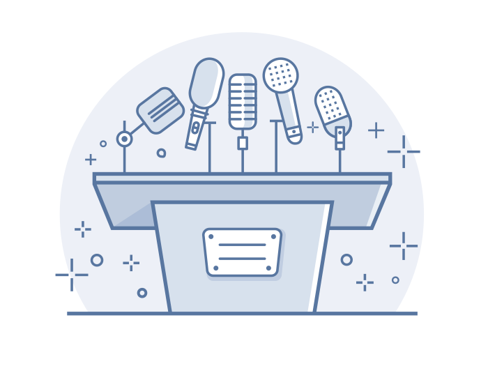 Tribune with microphones line vector illustration