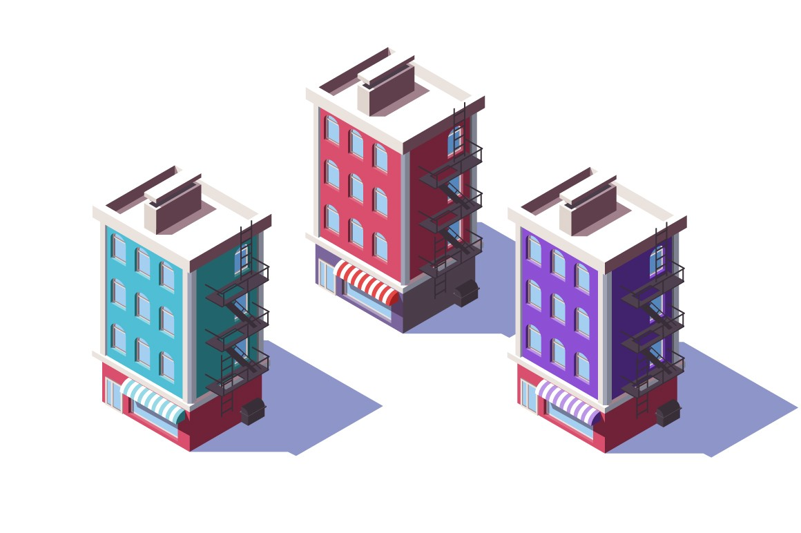 3d isometric mid-rise house with mini market on first floor.