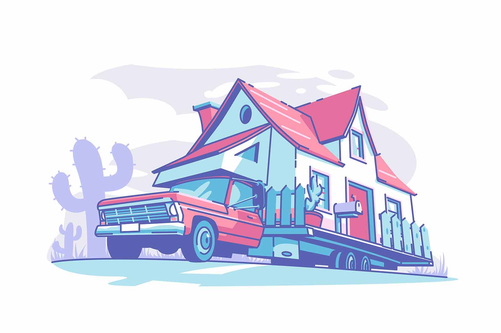 Mobile home building vector illustration. Live and travel flat style. Tourist transport road trip and recreational vehicles concept. Isolated on white background
