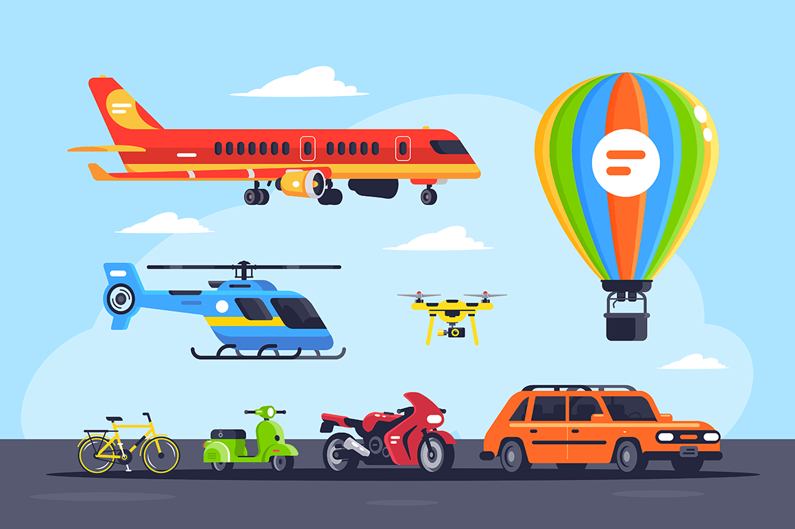 Set mode of transport with car, balloon, motorcycle, plane, helicopter, quadcopter, bicycle or bike.