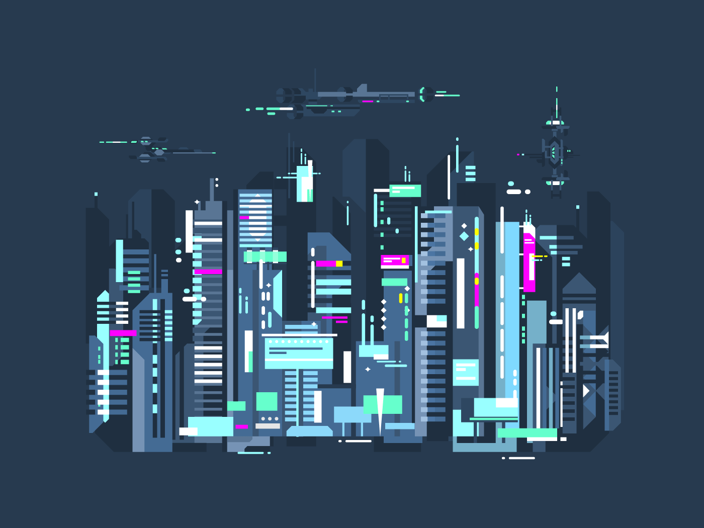Modern city flat vector illustration