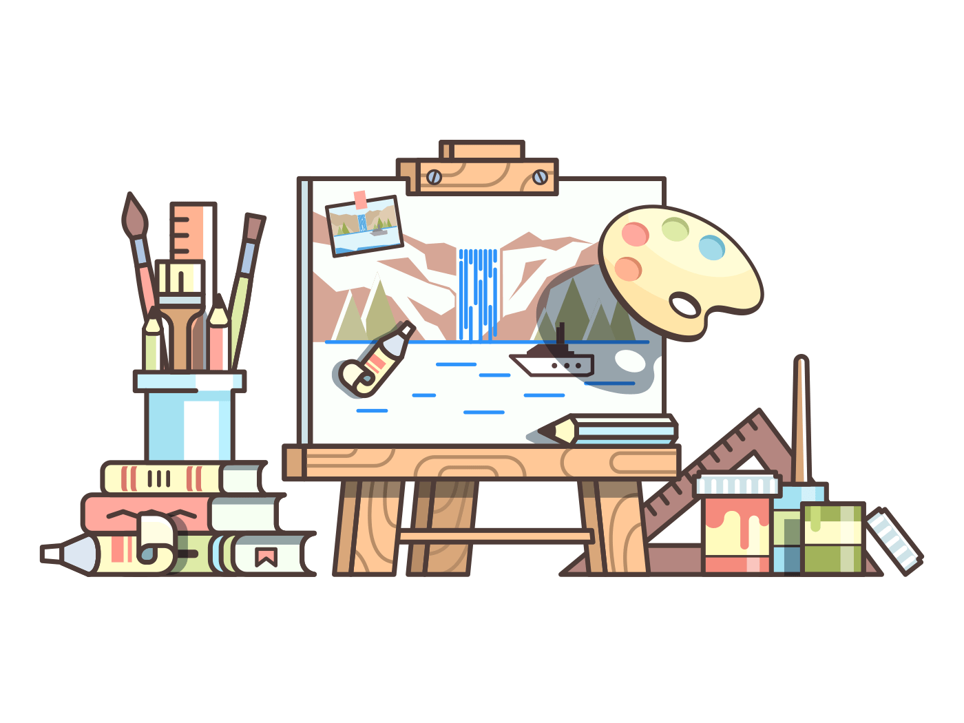 Easel and painting supplies line vector illustration