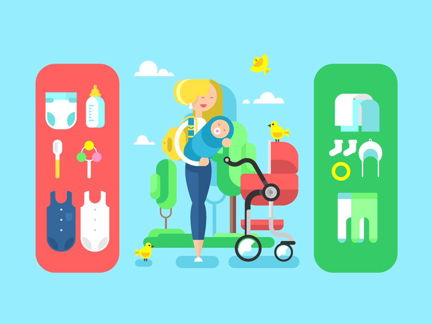 Baby and mother, accessories flat vector illustration