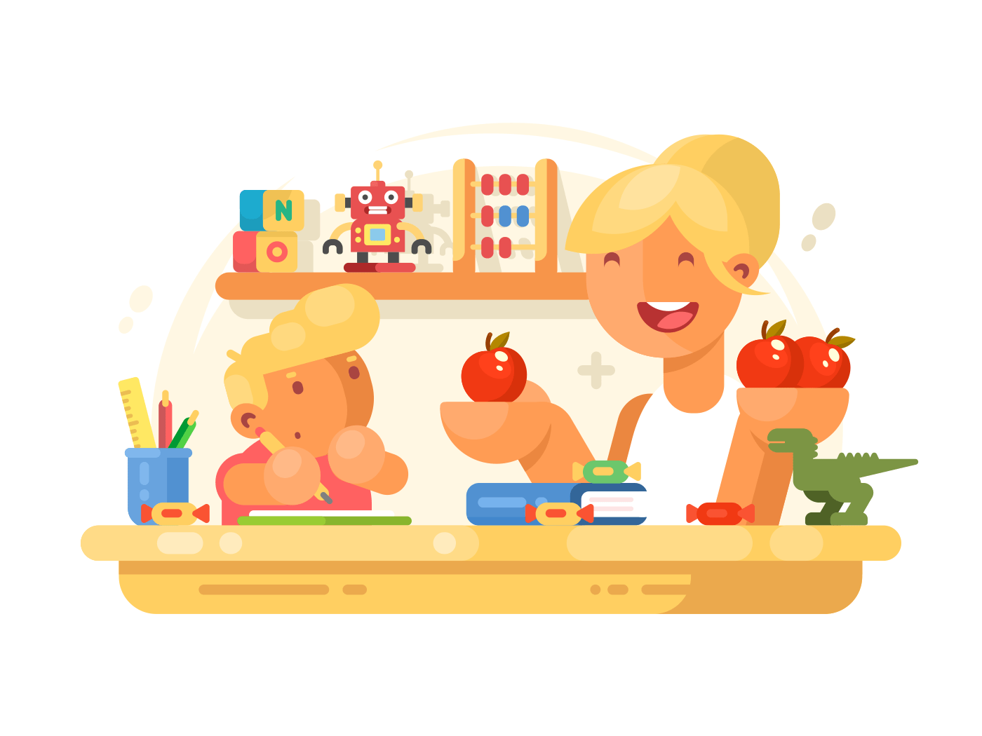 Mom helps son do homework illustration