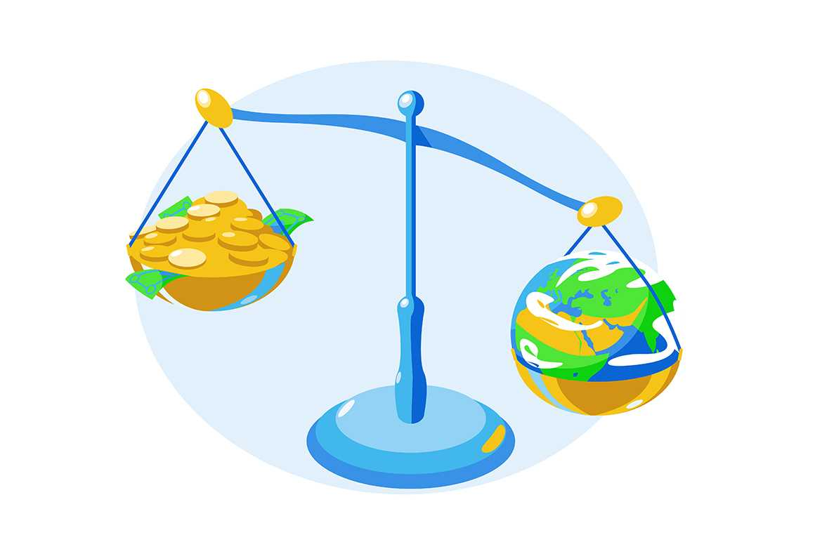 Money and earth on bowls of scales vector illustration. Golden coins, banknotes and globe on scale flat style design. Comparing and right choice concept. Isolated on white background