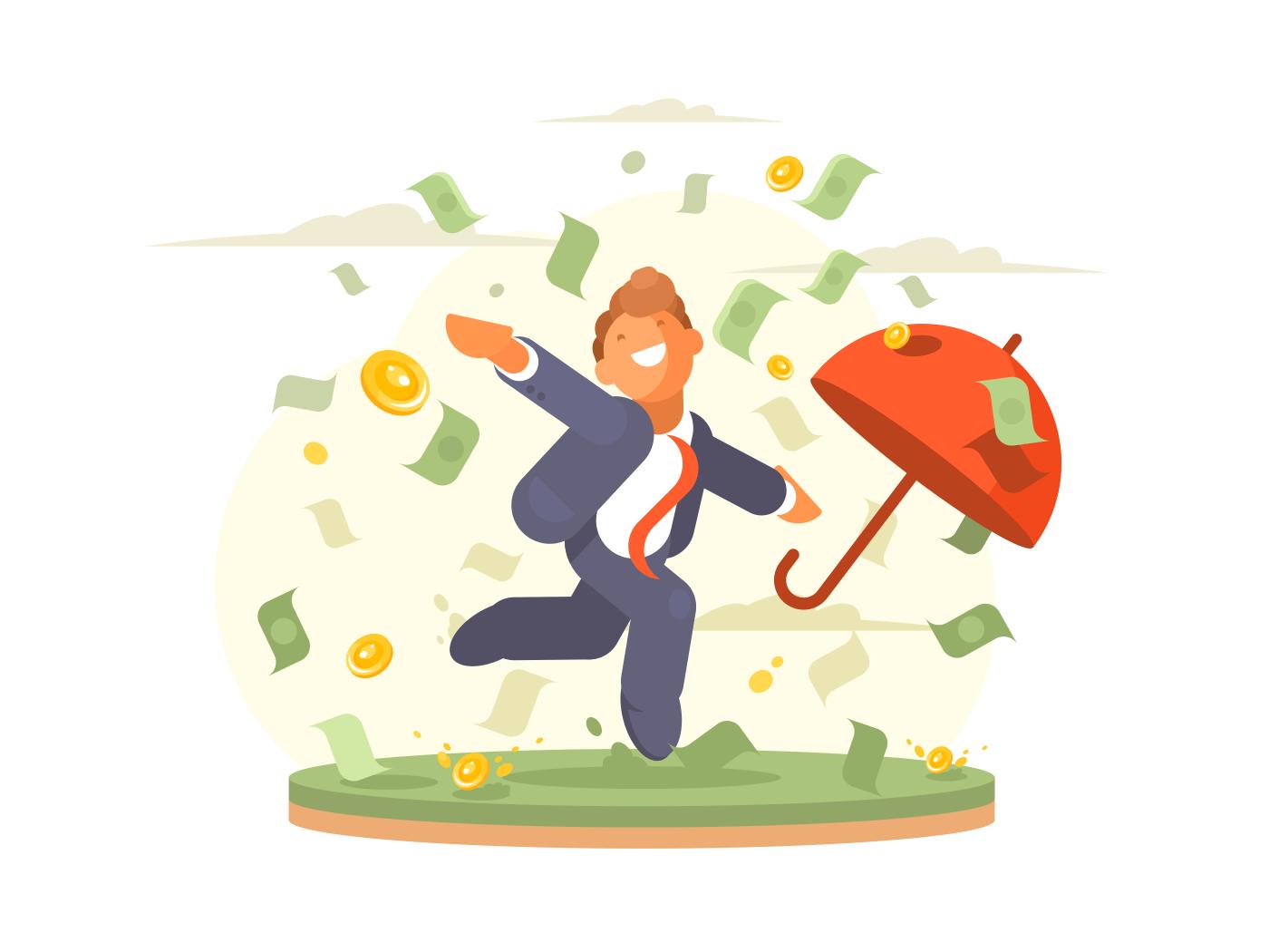 Successful businessman dances under money rain coins and banknote. Vector illustration