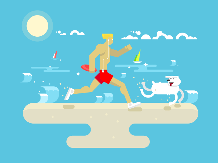 Morning jog on beach flat vector illustration
