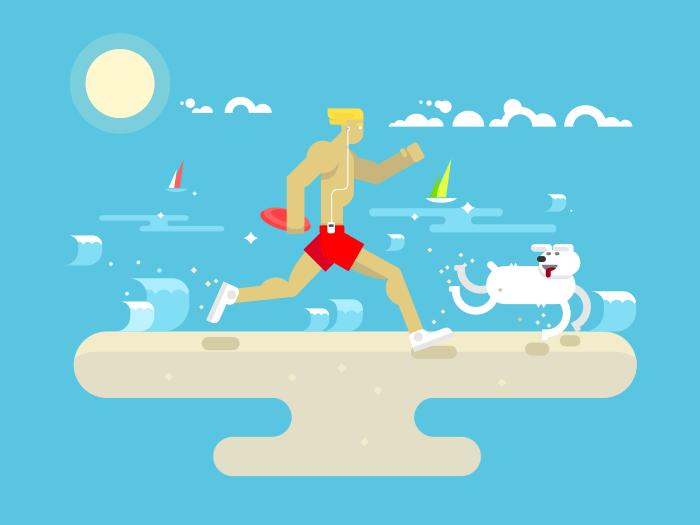 Morning jog on beach flat vector illustration