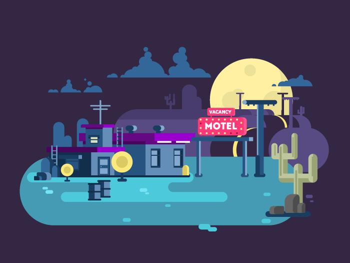 Motel night flat vector illustration