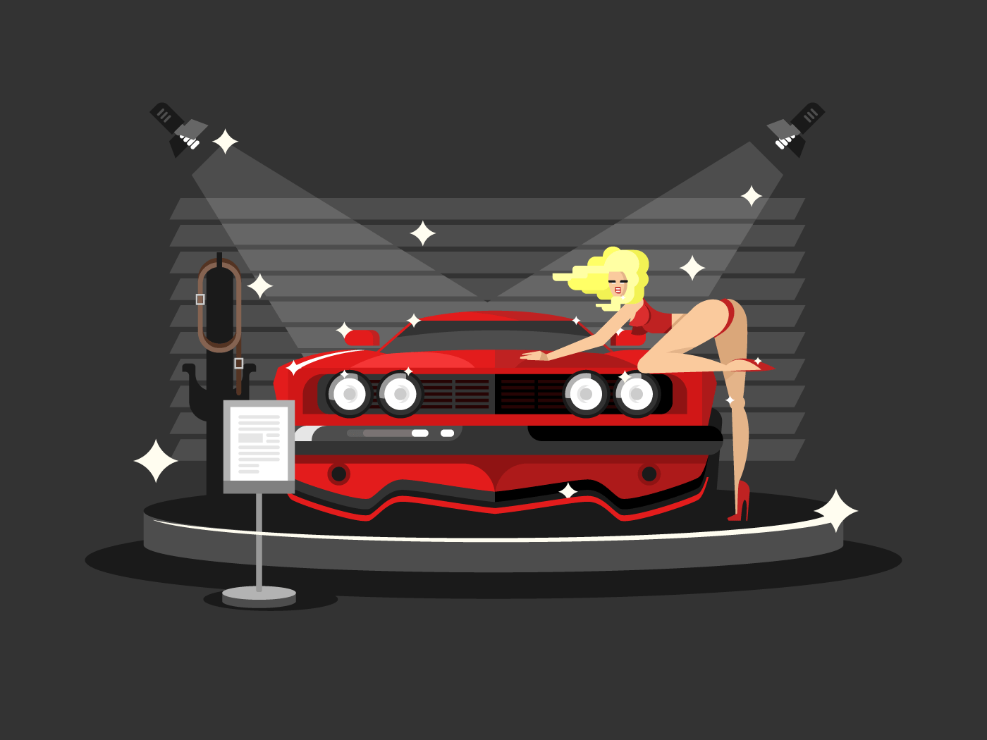 Motor show with pretty girl flat vector illustration