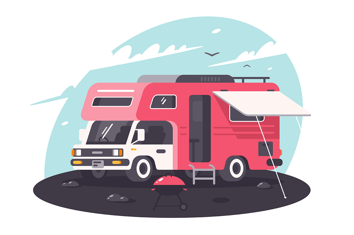 Motor home on rest, parking, fresh air with bbq.