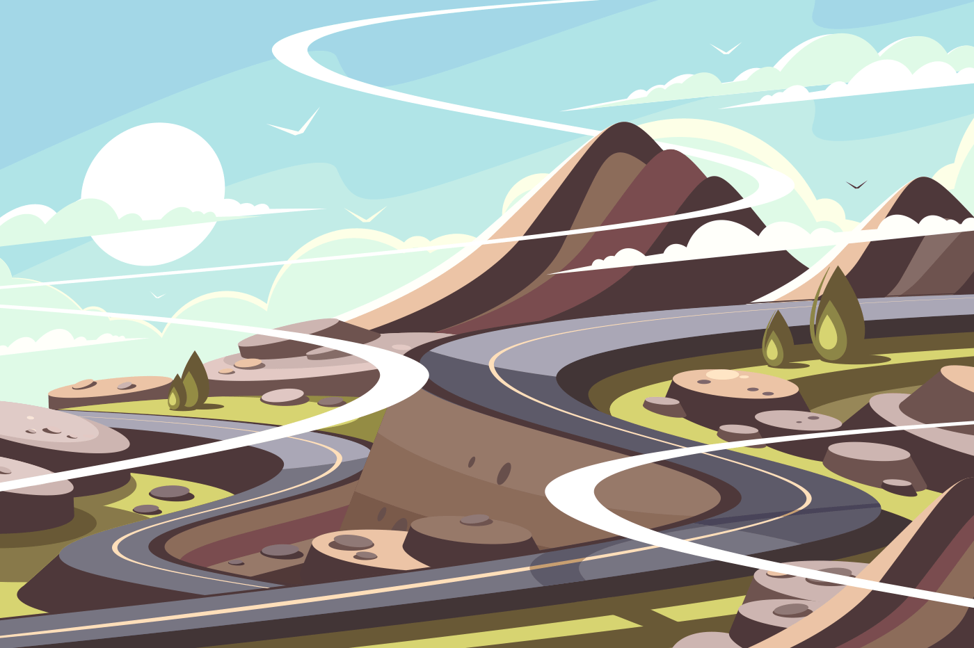 Mountain asphalt road serpentine. Landscape of transport infrastructure. Vector illustration