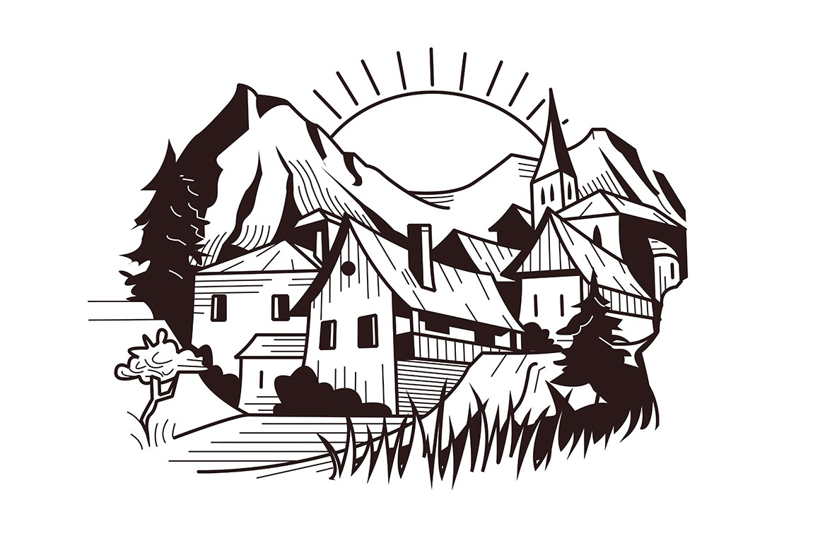 Town on mountain landscape vector illustration. Wooden houses, trees on picturesque background. Scenic scenery in white and black colours flat style design