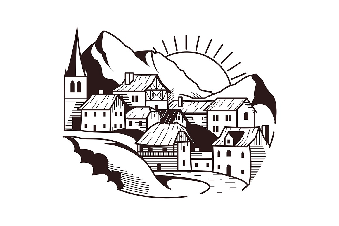 Village on mountain landscape vector illustration. Wooden houses, trees on picturesque background. Scenic scenery in white and black colours flat style design