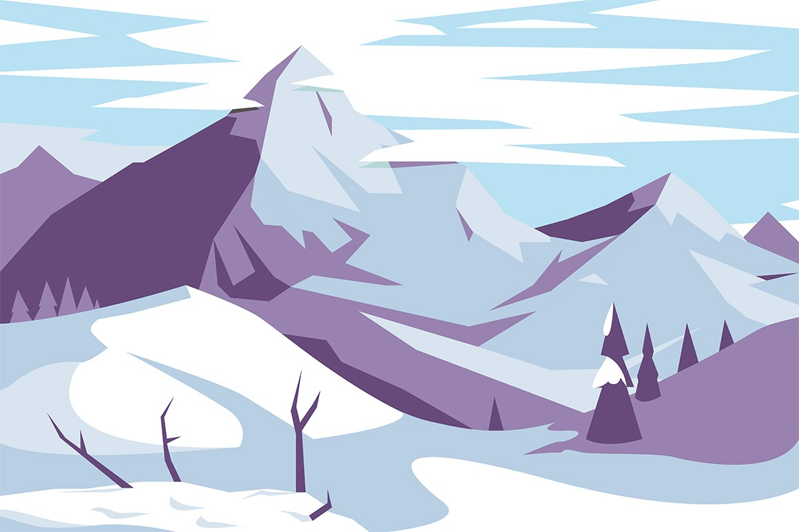 Picturesque mountains landscape vector illustration. Magic winter scenery of highlands. Snow covered high majestic rock hills and pine forest panoramic view