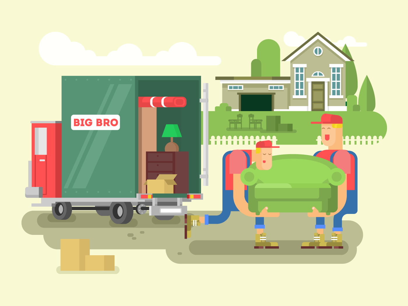 Moving design flat vector illustration