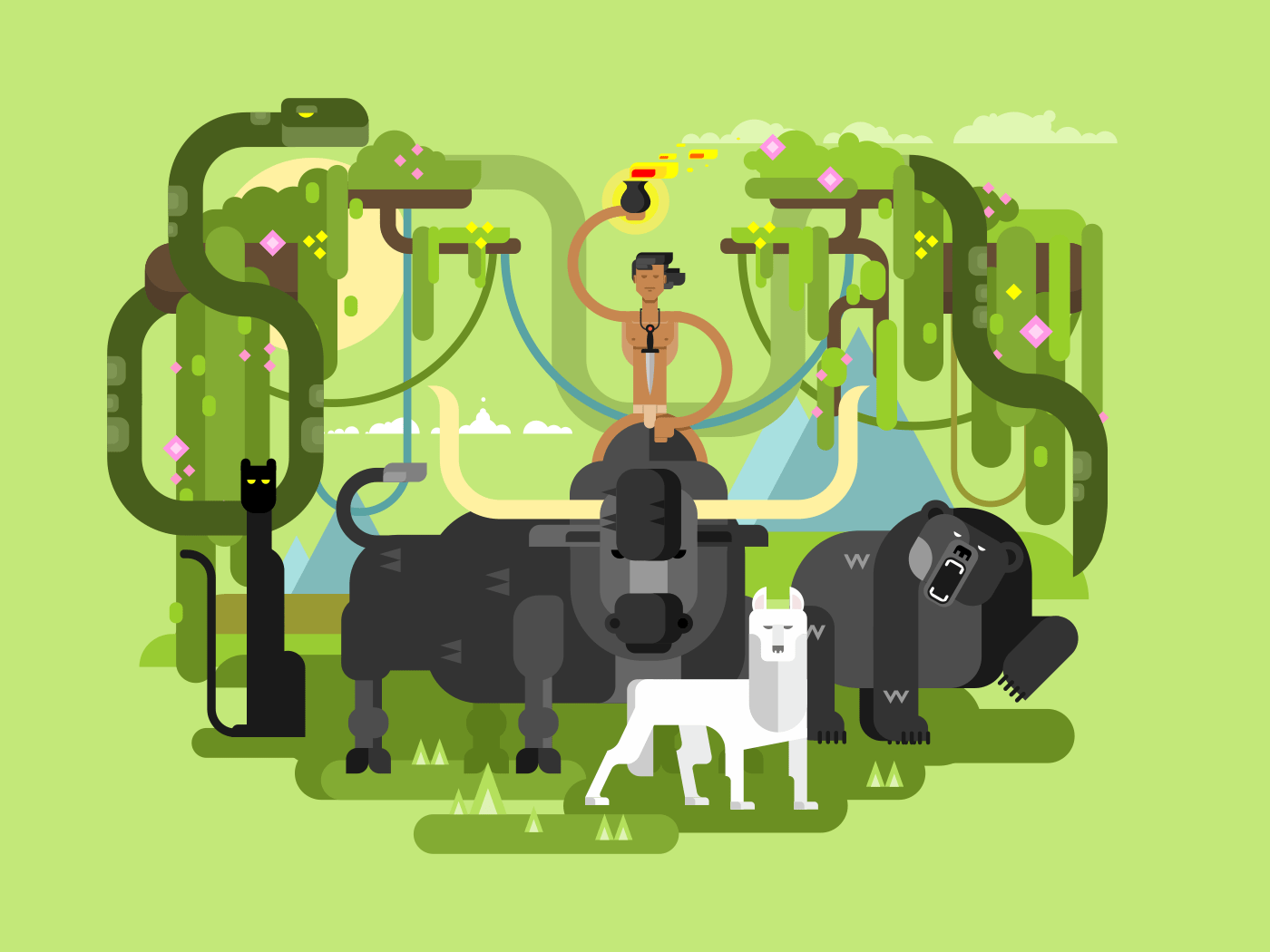 Character Mowgli with animal flat vector illustration