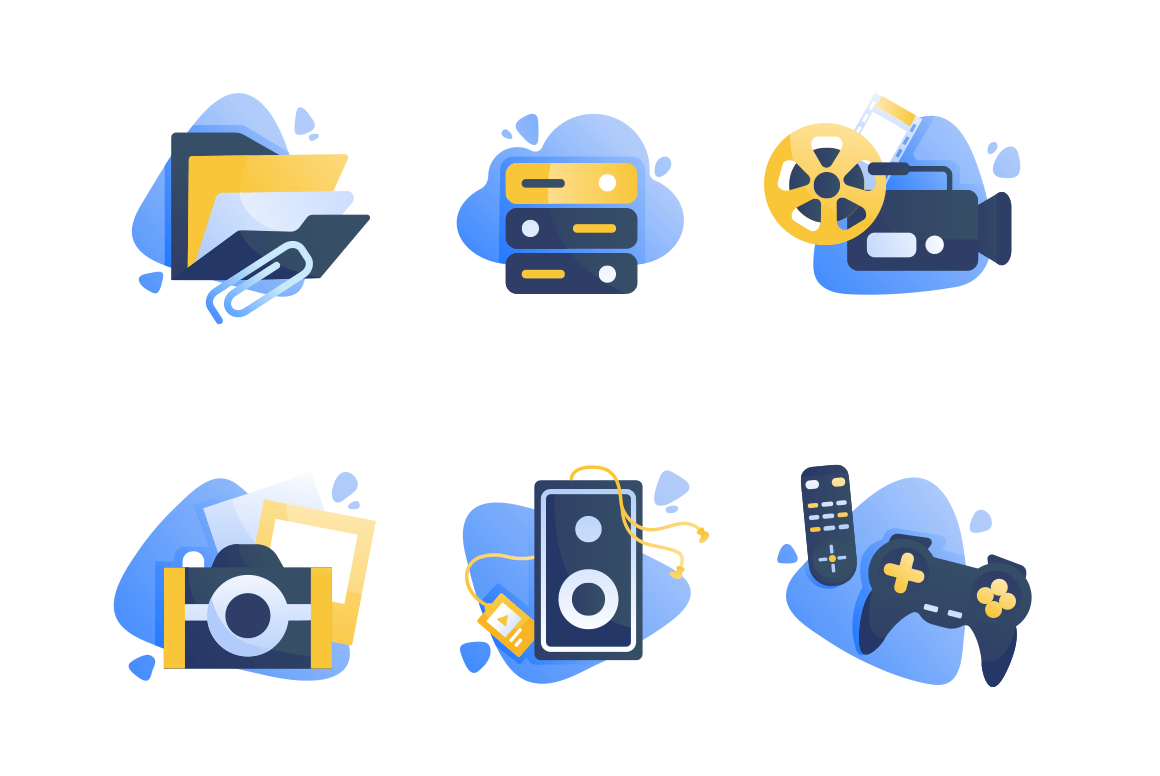 Set icons with multimedia, folder, camera, cinema, remote controller, joystick.
