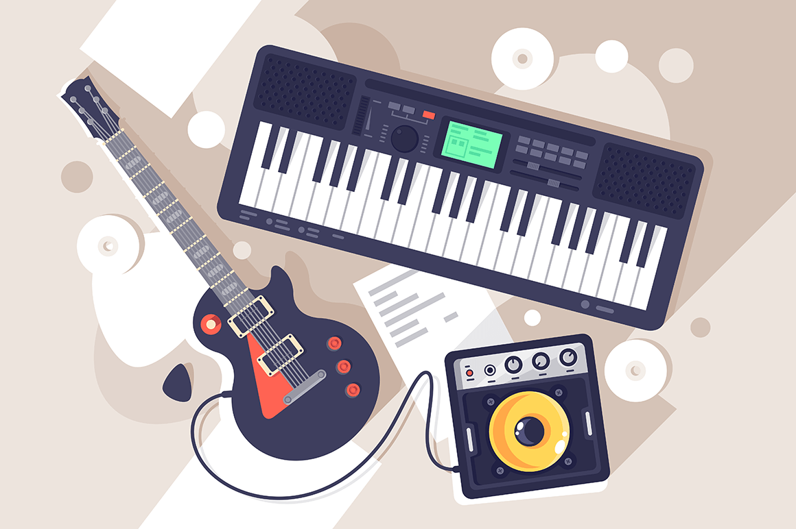 Flat music equipment with electrric guitar, synthesizer.