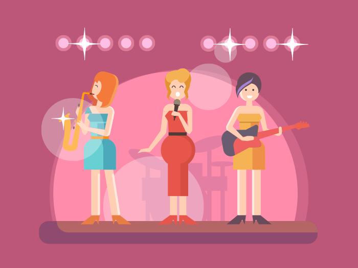 Girls music bando flat vector illustration