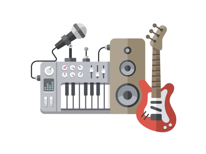 Music tools flat illustration