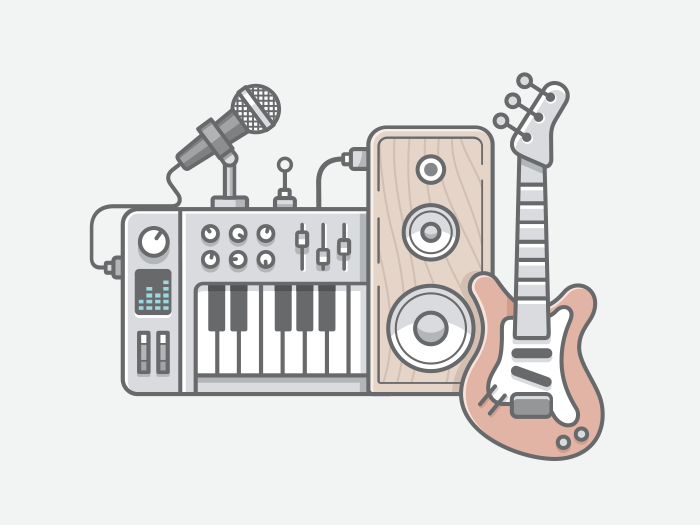 Vector illustration of music tools in line flat style