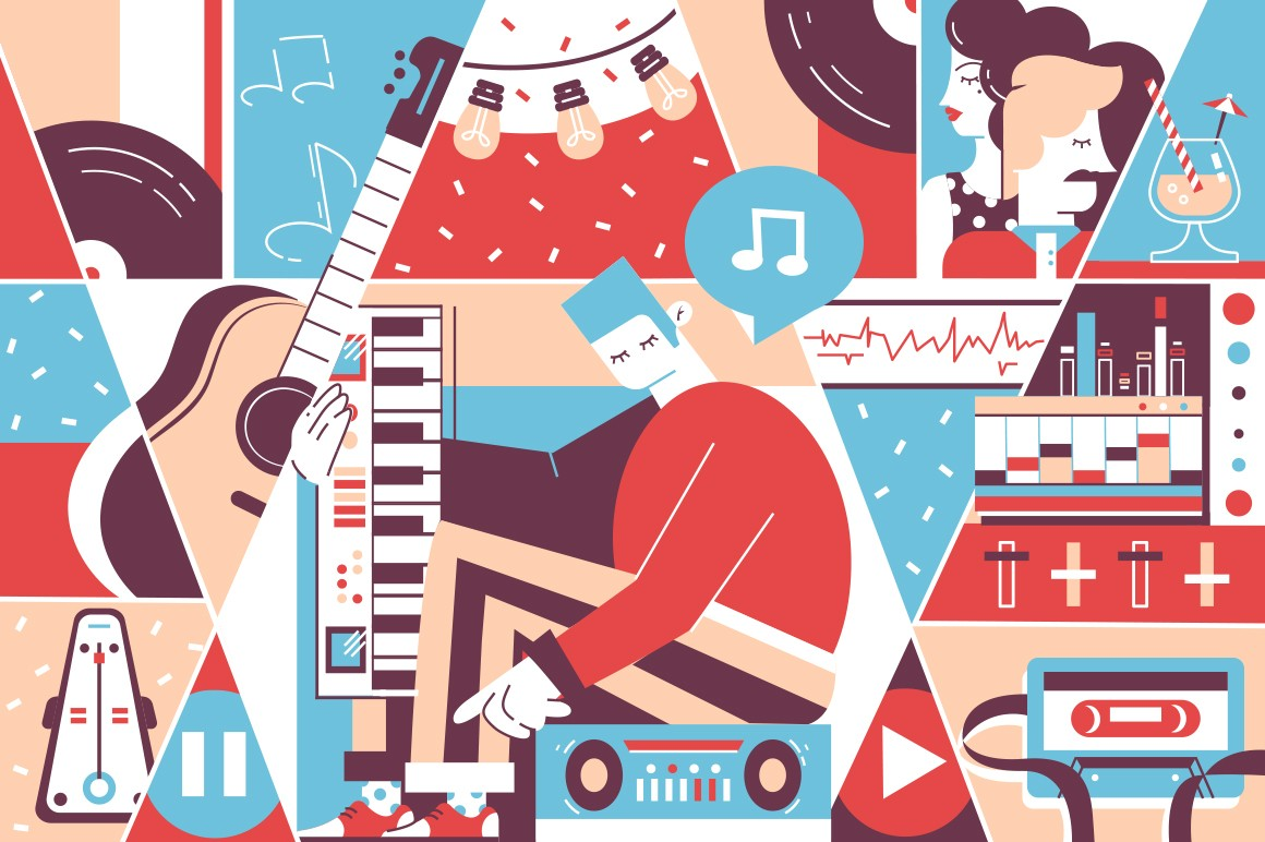 Music background of instruments, musician and couple