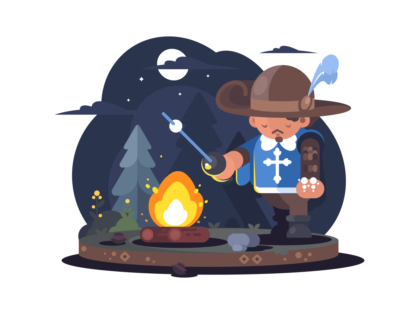 Musketeer in hat with feather vector illustration