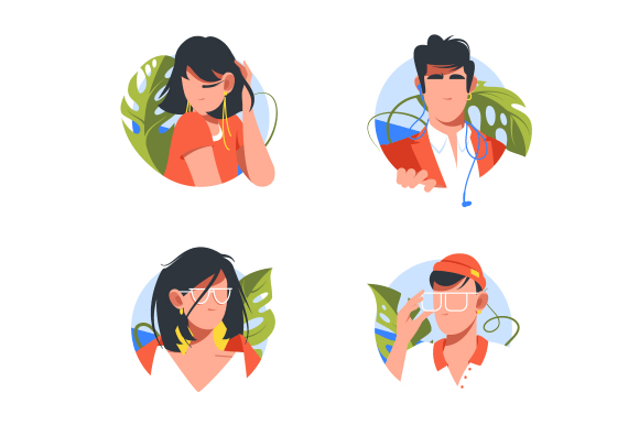 Vacation icons with avatars men and woman with glasses