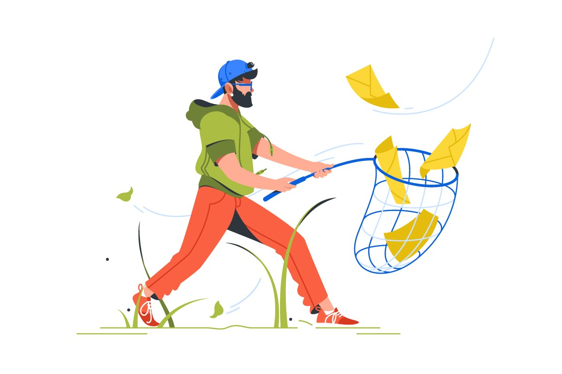 Bearded man catching mail with notification setting using butterfly net.
